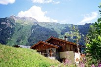 mountain and chalet in summer